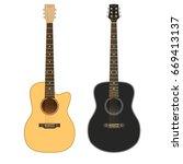 acoustic guitars on white...   Shutterstock .eps vector #669413137