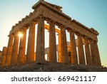 acropolis and parthenon of... | Shutterstock . vector #669421117