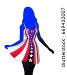 woman in american patriotic...   Shutterstock . vector #669432007