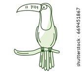 toucan in branch tropical bird... | Shutterstock .eps vector #669451867