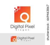 digital pixel initial letter q... | Shutterstock .eps vector #669463867
