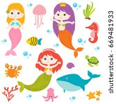 cute mermaid vector | Shutterstock .eps vector #669481933