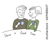 cute couple has a good time... | Shutterstock .eps vector #669488647
