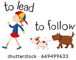 opposite wordcard for to lead... | Shutterstock .eps vector #669499633