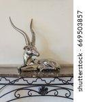 ornamental silver deer on an... | Shutterstock . vector #669503857