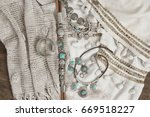 bohemian chic silver and... | Shutterstock . vector #669518227