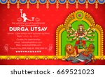 illustration of goddess durga... | Shutterstock .eps vector #669521023