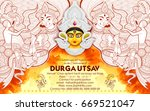 illustration of goddess durga... | Shutterstock .eps vector #669521047