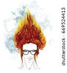 fashion illustration. hair... | Shutterstock .eps vector #669524413