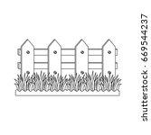 wooden fence garden   Shutterstock .eps vector #669544237