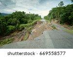 Landslide Collapsed Asphalt...