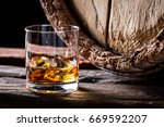 glass of good brendy with ice... | Shutterstock . vector #669592207