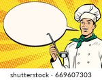 caucasian chef with ladle for... | Shutterstock .eps vector #669607303