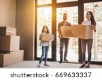 happy family with cardboard...   Shutterstock . vector #669633337