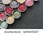 top view ice cream flavors in... | Shutterstock . vector #669645367