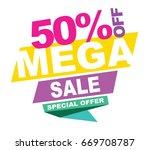 mega sale banner. vector... | Shutterstock .eps vector #669708787