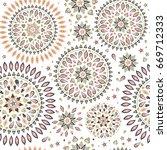 vector seamless pattern in boho ... | Shutterstock .eps vector #669712333