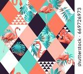 exotic beach trendy seamless... | Shutterstock . vector #669726973