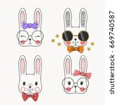 cute rabbits. cool boy  sweet... | Shutterstock .eps vector #669740587