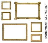 set of gilded  gold   frames... | Shutterstock . vector #669753607