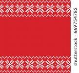 winter sweater fairisle design. ... | Shutterstock .eps vector #669754783