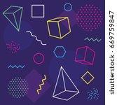 memphis trendy design with... | Shutterstock .eps vector #669759847