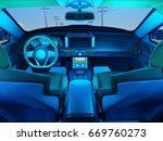 interior of the modern car.  3d ... | Shutterstock . vector #669760273