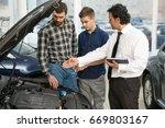 professional salesman showing... | Shutterstock . vector #669803167
