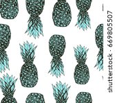 graphic style  pineapples on...   Shutterstock .eps vector #669805507