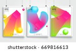 poster with flat geometric... | Shutterstock .eps vector #669816613