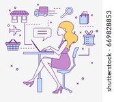 online store. delivery.... | Shutterstock .eps vector #669828853