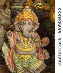 Small photo of Grey Ganesh Elephant God Statue in Sleeping Gesture