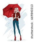 fashion stylish woman with... | Shutterstock .eps vector #669840313