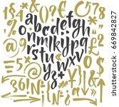 handwritten script font. brush... | Shutterstock .eps vector #669842827