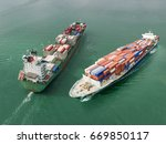 aerial view of cargo ship ... | Shutterstock . vector #669850117