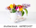 bouquet of tulips and a lilac... | Shutterstock . vector #669851437