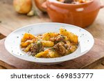 meat stew with manioc ... | Shutterstock . vector #669853777