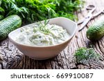 traditional greek dip sauce or... | Shutterstock . vector #669910087