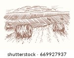 rural landscape hand drawn.... | Shutterstock .eps vector #669927937