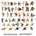 fighters  knight  warriors ... | Shutterstock .eps vector #669940837