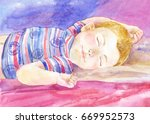 sleeping baby  watercolor...   Shutterstock . vector #669952573