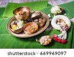 khantok is a pedestal tray used ... | Shutterstock . vector #669969097