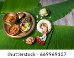 khantok is a pedestal tray used ... | Shutterstock . vector #669969127