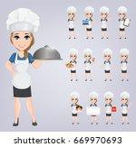 chef woman set. cute cartoon...