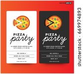 pizza party invitation template ...   Shutterstock .eps vector #669974893