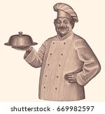 cook. hand drawn engraving.... | Shutterstock .eps vector #669982597