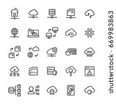 network hosting icon set in... | Shutterstock . vector #669983863