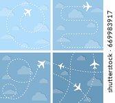 four  illustrations with flight ...   Shutterstock . vector #669983917