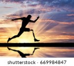 running a disabled person with... | Shutterstock . vector #669984847