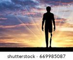 disabled person with a... | Shutterstock . vector #669985087